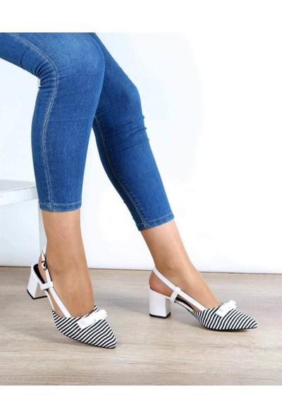Mosimoso Beyaz Çizgili Topuk Bağlı Fiyonk Bıyık Kadın Ayakkabı