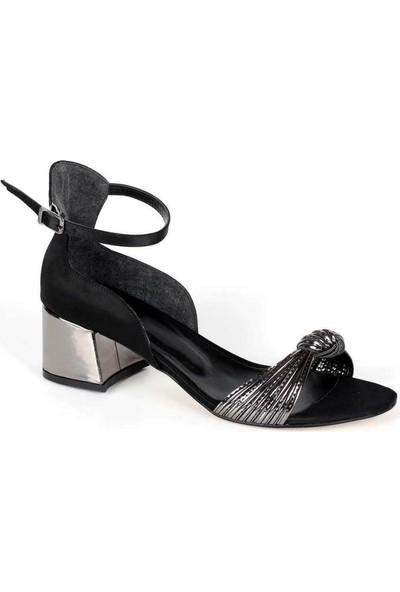 Mosimoso Siyah Saten Bilek Bağlı Düğüm Kemer Kadın Ayakkabı