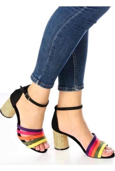 Mosimoso Lella Siyah Süet Renkli Bilek Bağlı Kadın Ayakkabı