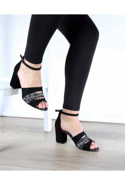 Mosimoso Siyah Süet Bilek Bağlı Yılan Desenli Kemer Topuklu Kadın Ayakkabı