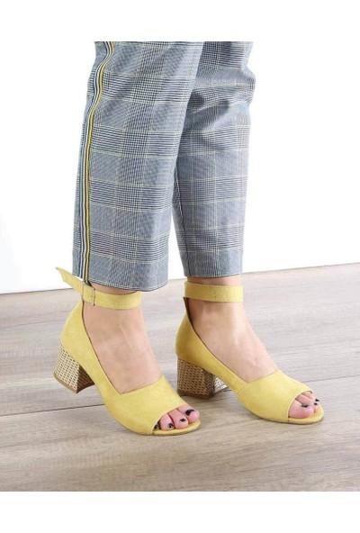 Mosimoso Hardal Süet Bilek Bağlı Kalın Topuk Kadın Ayakkabı
