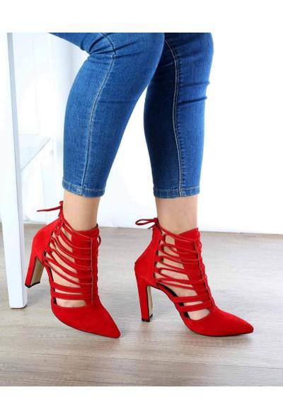 Mosimoso Montrel Kırmızı Süet Topuklu Kadın Ayakkabı