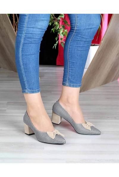 Mosimoso Ten Süet Çizgili Papyon Detay Kısa Topuk Kadın Ayakkabı
