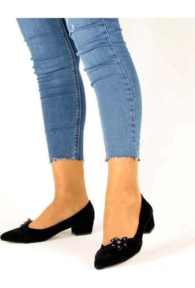 Mosimoso Siyah Süet Çiçek Tokalı Kadın Ayakkabı