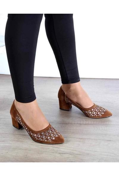 Mosimoso Taba Süet Desenli Topuklu Kadın Ayakkabı