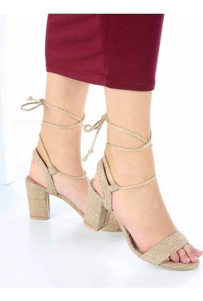 Mosimoso Blanca Hasır Sarma Bağcıklı Topuklu Kadın Ayakkabı