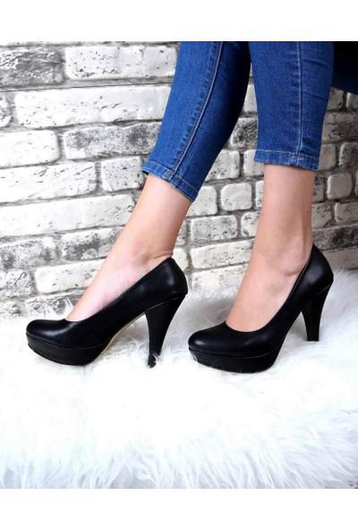 Mosimoso Evaline Siyah Cilt Çift Taban Topuklu Kadın Ayakkabı