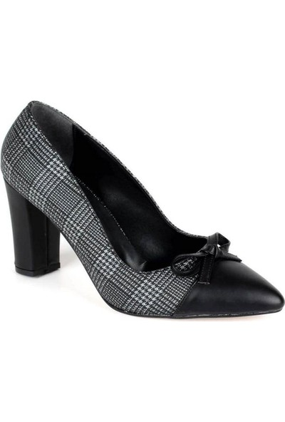 Mosimoso Siyah Cilt Burun Siyah Ekose Kalın Topuk Kadın Ayakkabı