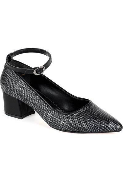 Mosimoso Siyah Ekose Bilek Bağlı Kısa Topuk Kadın Ayakkabı