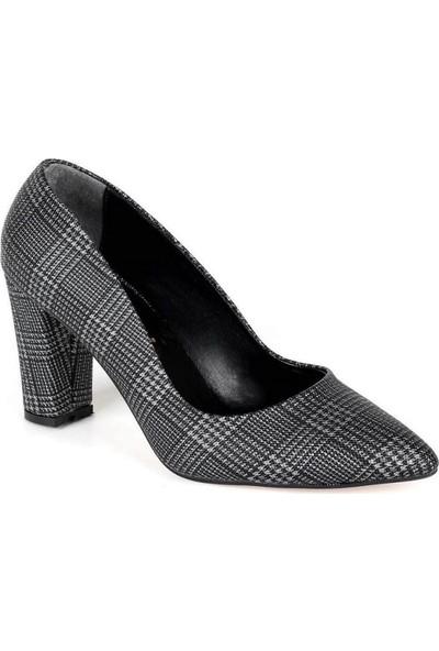 Mosimoso Siyah Ekose Kalın Topuk Kadın Ayakkabı