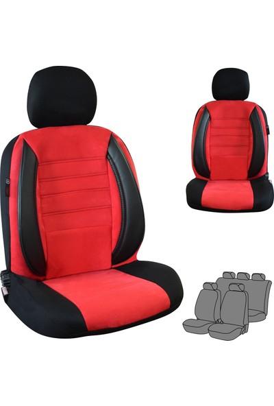 Akhan Tuning Chevrolet Aveo Uyumlu Nubuk Ortopedik Oto Koltuk Kılıfı Siyah Kırmızı