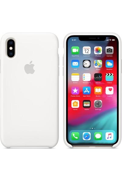 İnova Apple iPhone XS İnce Silikon Kauçuk Kılıf Arka Kapak - Beyaz