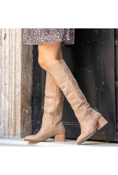Mio Gusto Sydney Bej Kadın Klasik Çizme