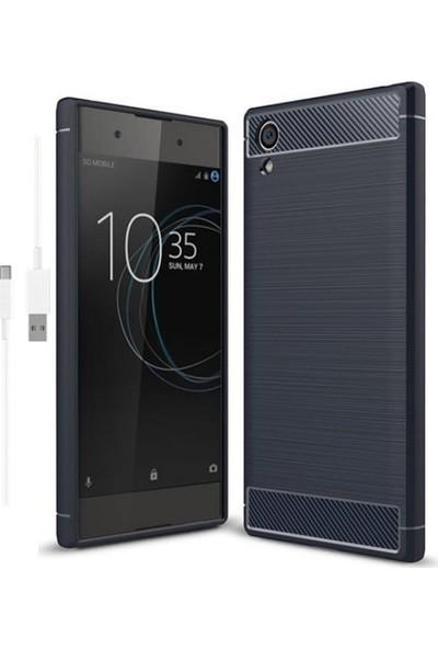 Magazabu Sony Xperia XA1 Plus Kılıf Ultra Korumalı Room Silikon + Şarj Kablosu + Cam Ekran Koruyucu Lacivert