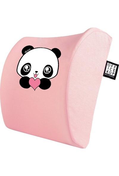 Office Küp Bel Yastığı Ofis Koltuk Minderi Ortopedik Pembe Panda