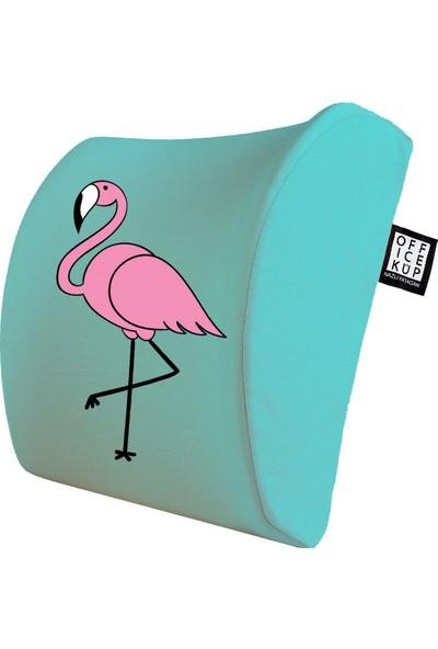 Office Küp Bel Yastığı Ofis Koltuk Minderi Ortopedik Turkuaz Flamingo