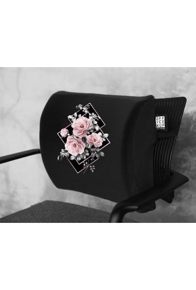 Office Küp Bel Yastığı Ofis Koltuk Minderi Ortopedik Siyah Flower Duet