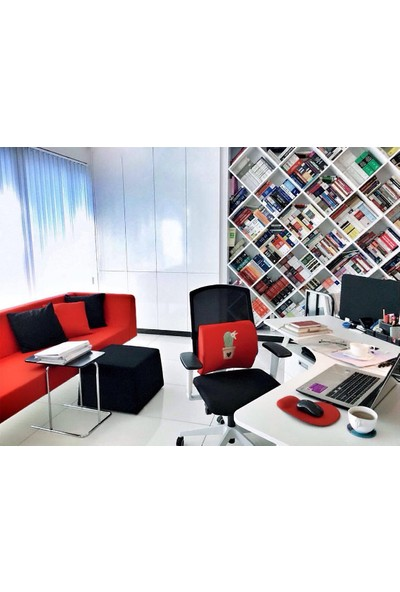 Office Küp Bel Yastığı Ofis Koltuk Minderi Ortopedik Kırmızı Kaktüs