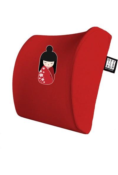 Office Küp Bel Yastığı Ofis Koltuk Minderi Ortopedik Kırmızı Geisha
