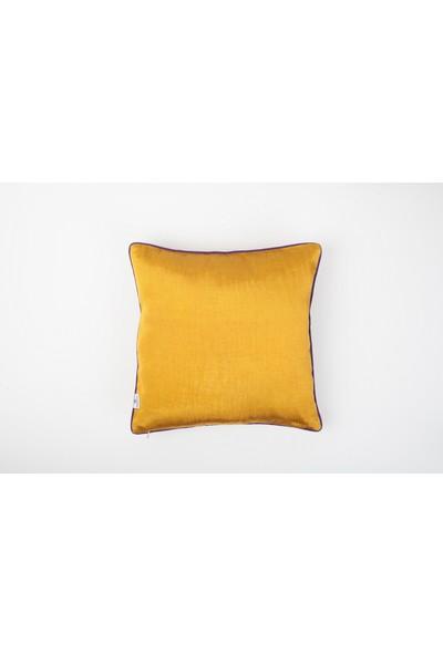 Bohemtolia Bereket Motifi Nakışlı Kutnu Yastık - Sarı