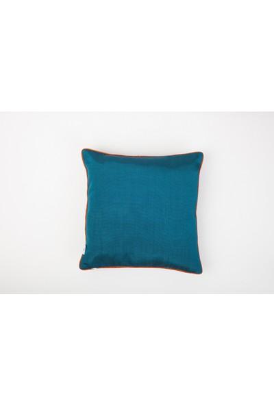 Bohemtolia Bereket Motifi Nakışlı Kutnu Yastık - Mavi