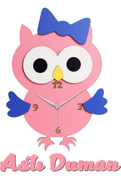 Morvizyon Kişiye Özel Kız Çocuk Odası Sevimli Baykuş Ahşap Duvar Saati