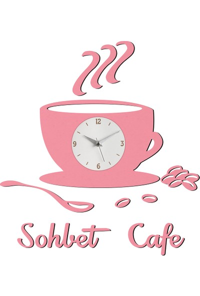 Morvizyon Firmaya Kişiye Özel Cafe Fincan Temalı Ahşap Duvar Saati - M243