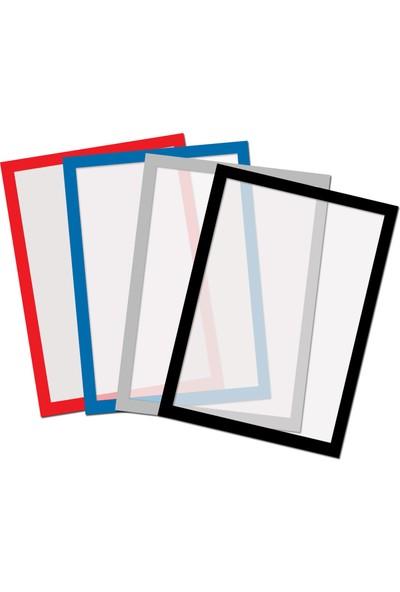 Direct Arkası Mıknatıslı Kenarları Çerçeve Renkli Folyo -Bilgi Cebi A4-Mıknatıs Tutan Her Türlü Yüzeye Yapıştır Kaldır. Siyah Çerçeve Rengi