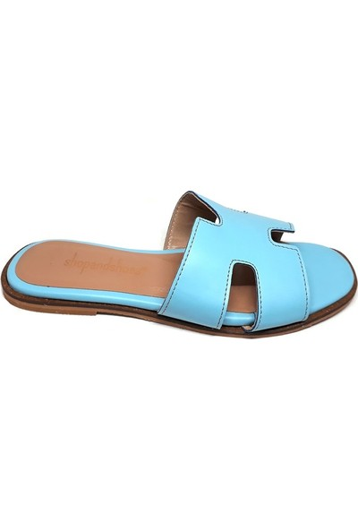 Shop And Shoes 038-222 Kadın Terlik Mavi