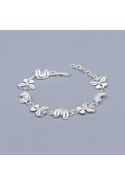 Akyüz Gümüş Kelebek İşlemeli Telkari Gümüş Bileklik 133