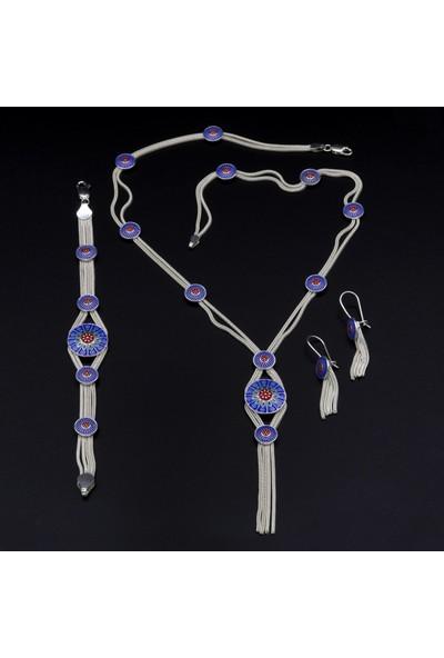 Akyüz Gümüş Mineli Mardin Hasırı Gümüş Set 038