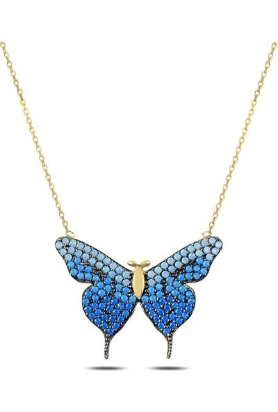 Kutaydan 925 Ayar Gümüş Mavi Tonlamalı Nano Taşlı Kelebek Kolye