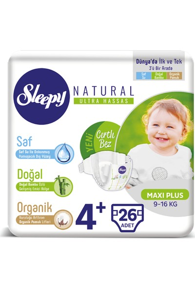 Sleepy Sensitive Bebek Bezi 4+ Beden Maxi Plus Jumbo Paket (26 Adet)