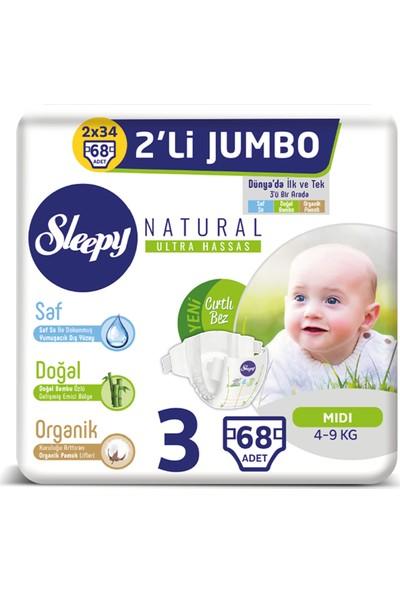 Sleepy Natural Bebek Bezi İkili Jumbo 3 Beden 68 adet