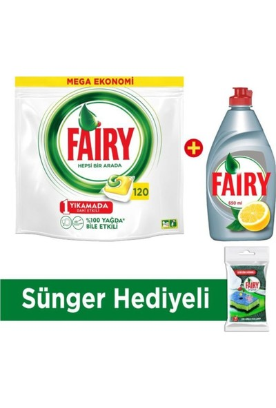 Fairy Hepsi Bir Arada 120 Adet Fairy Platinum 430 Ml Sıvı Deterjan+Sünger