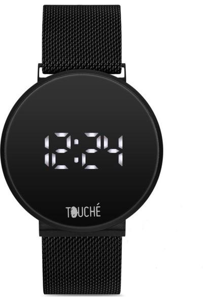 Touche Mıknatıslı Hasır Kordon Dijital Ekran Unisex Kol Saati