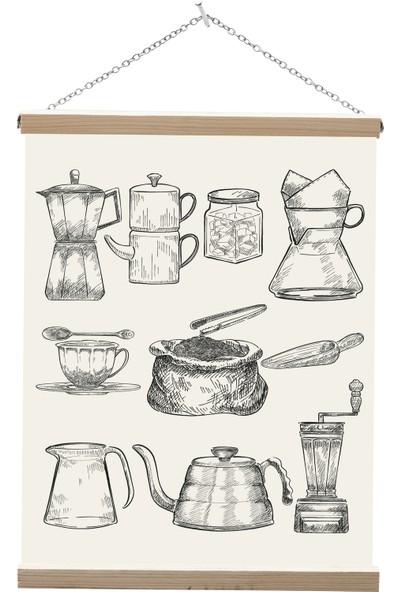 Yamamiya Kahve Malzemeleri Zincir Askılı Kanvas Poster Tablo