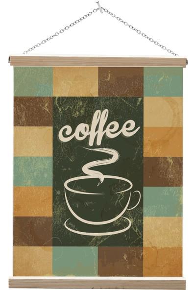 Yamamiya Retro Kahve Yazılı Zincir Askılı Kanvas Poster Tablo