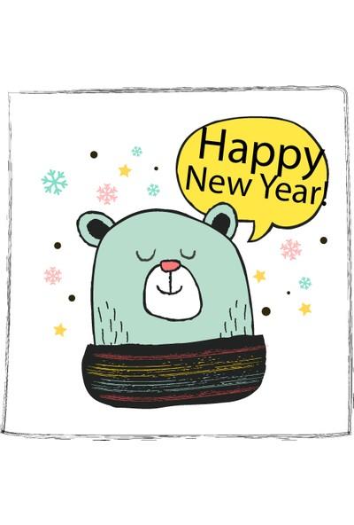Dekoratif Kış Happy New Year Yılbaşı Ahşap Bardak Altlığı 4'lü Set