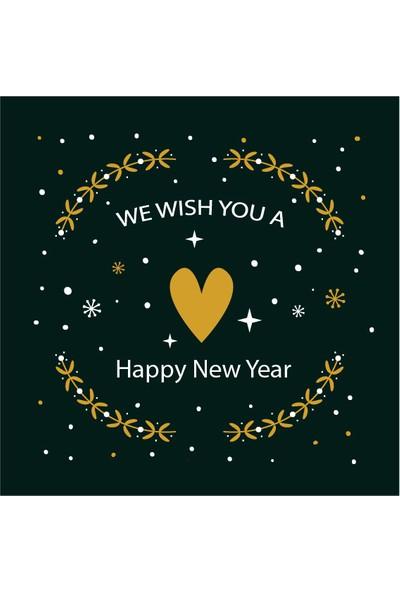 Dekoratif Kar Taneli Happy New Year Yılbaşı Ahşap Bardak Altlığı 4'lü Set