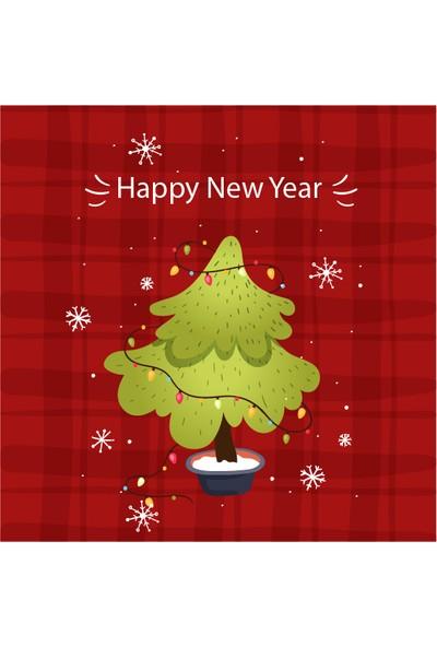 Dekoratif Yılbaşı Noelbaba Ahşap Bardak Altlığı 4'lü Set