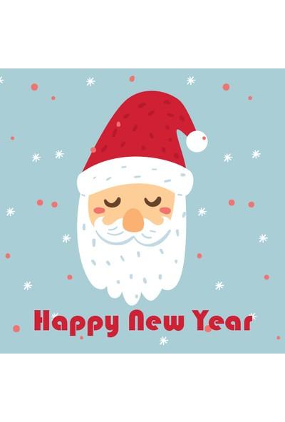 Dekoratif Geyik Happy New Year Yılbaşı Ahşap Bardak Altlığı 4'lü Set