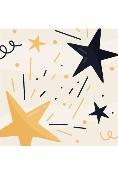Dekoratif Yıldız Happy New Year Yılbaşı Ahşap Bardak Altlığı 4'lü Set