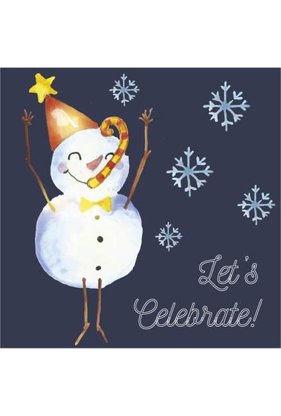Dekoratif Kardan Adam Happy New Year Yılbaşı Ahşap Bardak Altlığı 4'lü Set