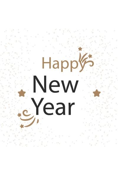 Dekoratif Happy New Year Yılbaşı Ahşap Bardak Altlığı 4'lü Set