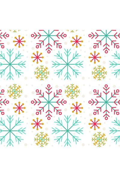Dekoratif Minik Yılbaşı Ağacı Kar Taneli Yılbaşı Ahşap Bardak Altlığı 4'lü Set