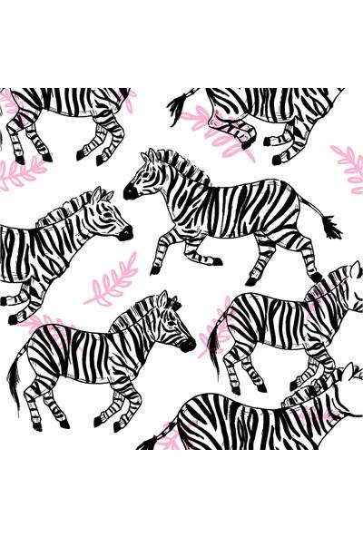 Dekoratif Zebra Ahşap Bardak Altlığı 4'lü Set