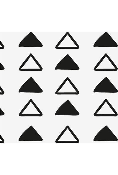 Dekoratif Siyak ve Beyaz El Çizimi Ahşap Bardak Altlığı 4'lü Set