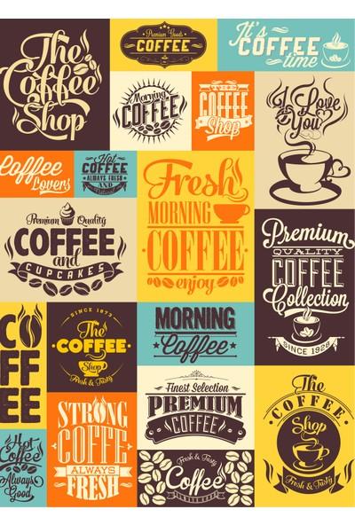 Yamamiya Kahve Çeşitleri Kutucukları Zincir Askılı Kanvas Poster Tablo