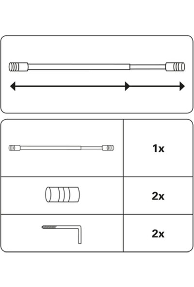 Gardinia Zylinder Vitraj Direği Metal Beyaz 1 Adet - Briz Çubuğu - 40 x 65 cm